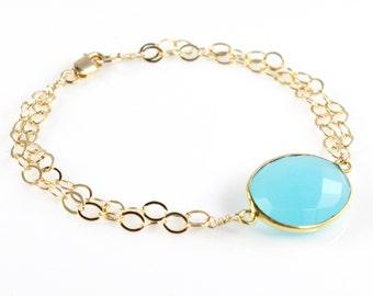 Chalcedony Double Chain Bracelet