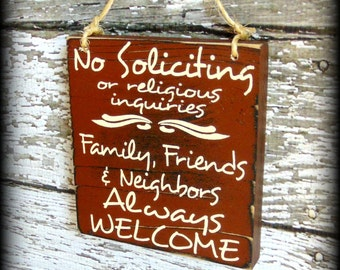 No Soliciting or Religious Inquiries - No Solicitation Sign - Custom Porch Sign - Custom Door Sign - Do Not Disturb - Wooden Welcome Sign
