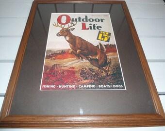 Vintage Outdoor Life Magazine Wildlife Cover Framed Magazine Cover Print