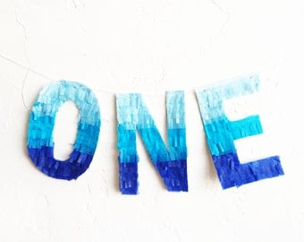 ONE fringe banner - pinata style letters - multicolor handmade garland
