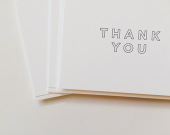 Thank You Cards Set - 6 Thank You Letterpress Cards - simple thank you - Letterpress Thank You Cards by Of Note Stationers