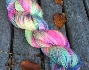 Hand Dyed TO ORDER Superwash MCN Sock Yarn, 100g/3.5oz, 'Freakin Mermaid'