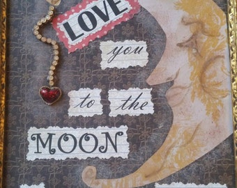 Mixed art I love you to the moon framed christmas