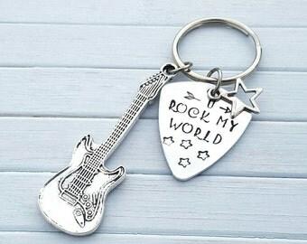 Guitar keychain, guitar keychain, guitar pick keyring, guitar pick keychain, anniversary keyring, music keychain, music keyring, guitar pick