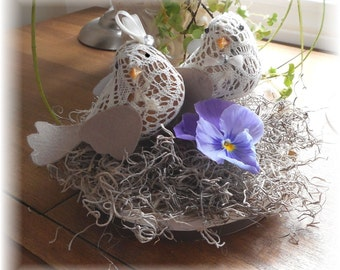 Wedding CAKE TOPPER Lace Love Birds Customize Your Color Flowers Base