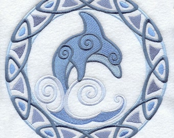 Celtic Dolphin Cushion Cover Embroidered Pillow Circle Knotwork