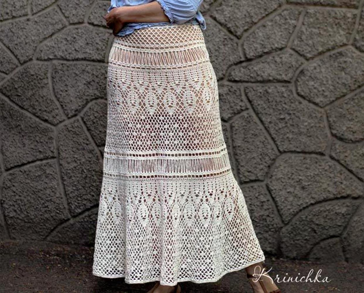 Free Download Crochet Skirt Pattern : Crochet maxi skirt PATTERN for sizes S-5XL Boho crochet skirt