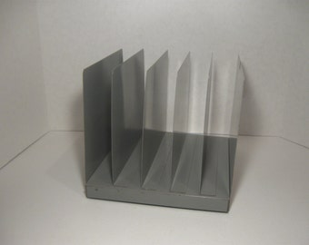 Vintage Metal Desktop Vertical Open File Grey Sturdy