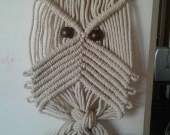 Macrame owl,natural cotton 6mm,wall hanging,