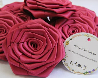 2 pcs Handmade Double Face Satin Ribbon Roses In Crimson Red  (2.5 inches). Ready To Ship.