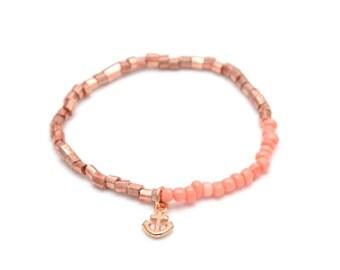 Rosegoldene beads anklets + anchor