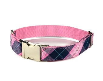 The Savannah Dog Collar, Navy And Pink Plaid Dog Collar, Preppy Dog Collar, Plaid Dog Collar, Tartan Plaid Dog Collar,  Pink Dog Collar