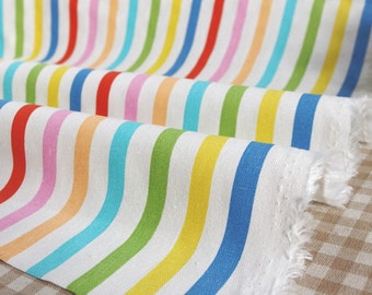 Colorful Stripe cotton linen fabric home decor fabric tablecloth fabric bag fabric curtain fabric 1/2 yard(FB-1)