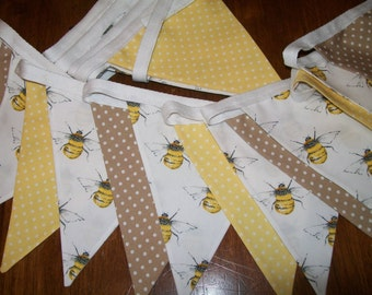Beautiful Cotton Double Sided Bunting - Bees and Polka Dots in Yellow/brown - Kitchen, Summerhouse, Garden Party