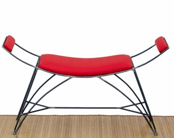 Chair design in iron and red faux leather