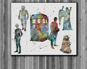 Tardis Doctor Who Poster -  Watercolor illustrations, Art Print, instant download,  Watercolor Print, poster