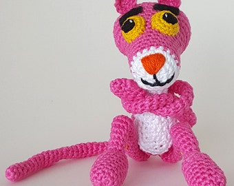 FREE SHIPPING/Crochet Pink Panther.  Amigurumi crochet toy.  Perfect gift for kids.  Pink Panther plush toy.  Pink.  Handmade by Lilcuddles.