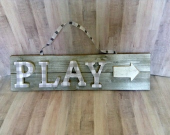 PLAY Wall Hanging, Playroom, Toyroom,Nursery School,Pre-School,Home Decor