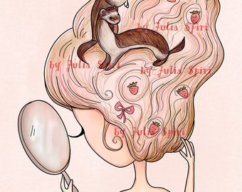 Digital Stamps, Digi stamp, Coloring pages, Hair stamp Ferrets Fantasy Scrapbooking printable. The Fantasy Hair Collection. Ferrets and Hair
