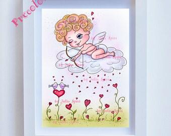 Precolored, Valentin, art decor, Love, Art download, Children's Art, Nursery wall art, Love Giclee, Childrens Illustration. Valentin
