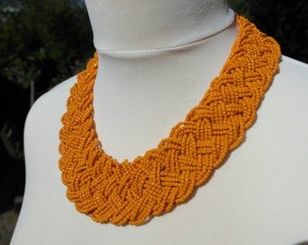 Woven seed bead vintage statement necklace in orange.