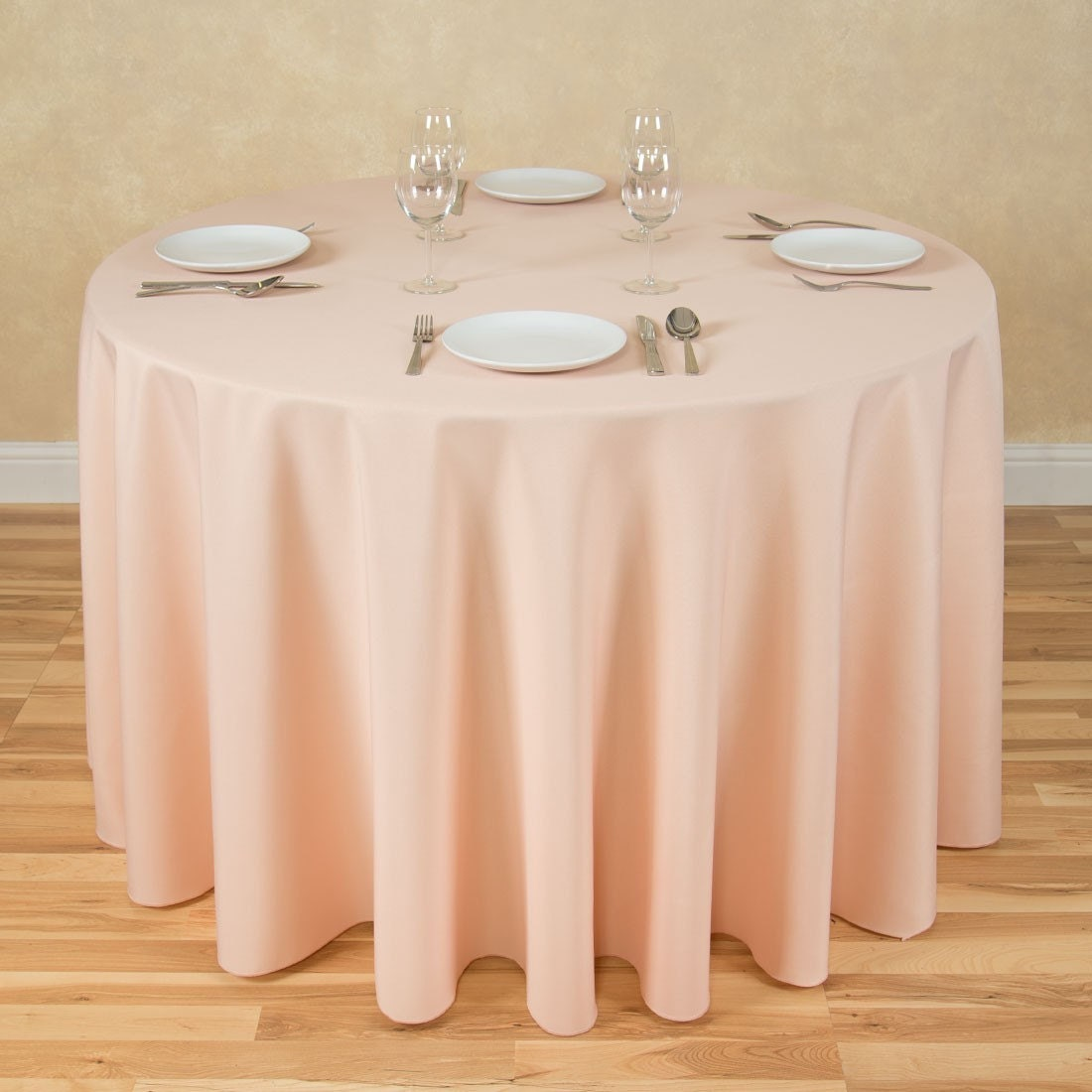Round Peach Tablecloth Polyester Wedding Tablecloth Choose