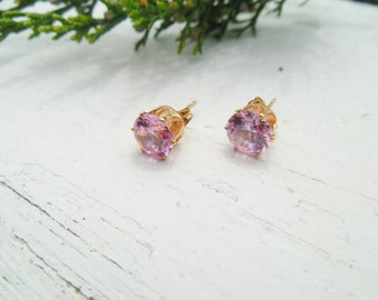 Gold or Rose Pink 2 Carat CZ Earrings: post, stud