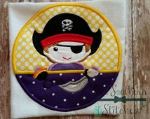 Pirate Circle Applique ~ Pirate Mascot ~ Instant Download