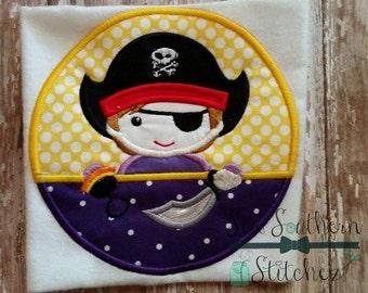 Pirate Circle Applique ~ Pirate Mascot ~ Instant Download