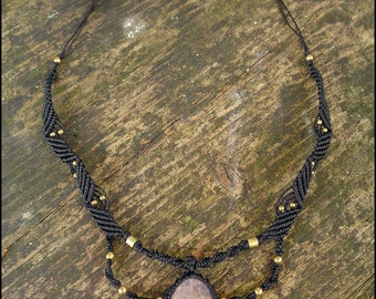 Macrame Rose Quartz necklace with brass beads