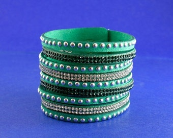SALE 20% OFF SALE 1 pc - Studded Leather Wrap Bracelet, Aqua Green Leather Bracelet, Wide Snap Back Multi Layer Bracelet,