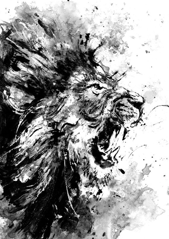 lion acrylic painting print lion roar lion art animal art angry animal black and white art animal painting for him wild life cat