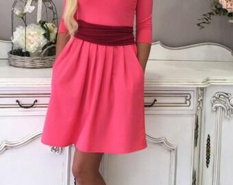 Mini Women's Dress V- Neck Pink Light Purple