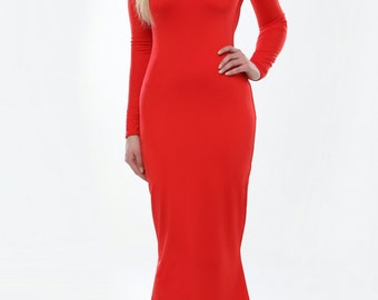 Red Backless Bodycon Maxi Dress  Round Neckline Long Sleeves