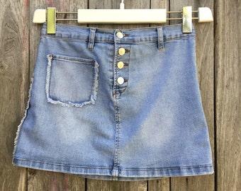 Jeans Skirt/ Vintage/ 90s/ stretch/ size M/ size 12/ denim/ length 35 cm