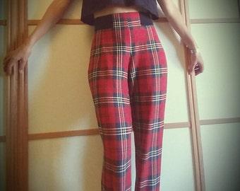 VINTAGE Tartan 90's Fuseau Leggins //High waist // XS, 34, 6 uk