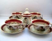 Vintage 9 Piece Porcelain coffee set, French Porcelain De Luxe Café Set, 9 Piece Coffee Set, Napoleon & Josephine Café Set.