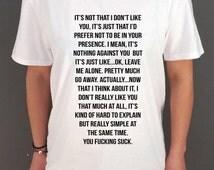 Andrea Russett Unisex Tshirt Its Not That I Dont Like You T-shirt Tumblr Slogan Womens cute top