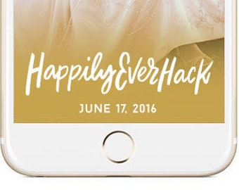 Gold Snapchat Hashtag Wedding GeoFilter | Personalized Custom Calligraphy On Demand Geo Filter