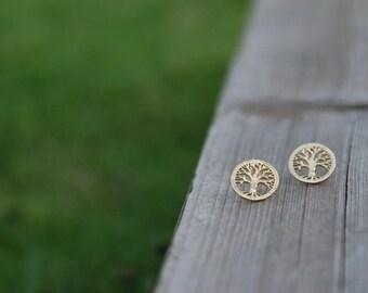 Tree of life earrings, goldfield earrings, stud earrings, tree of life stud earrings, tiny earrings