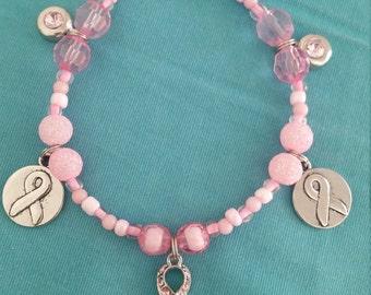 Handmade breast cancer beaded bracelet