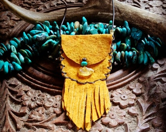 Raw Amber.Turquoise.Leather~ Medicine Pouch >>><<<