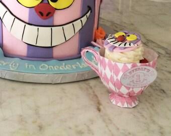 Solid Paper Teacup Cupcake Holder Printable