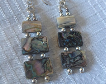 Abalone and Silver Plated Earrings