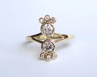 Diamond Twin Ring, Engagement Ring, 14K Yellow Gold