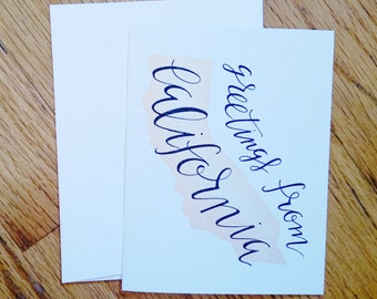 Greetings from California Greeting Card, Hand Lettered and Hand carved block print Note card, California Stationary