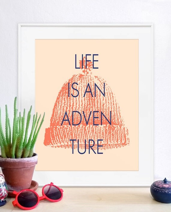 Life Aquatic, Life aquatic art, life aquatic poster, life aquatic print, murray, wes anderson, Life aquatic beanie, this is an adventure