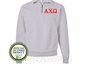 Alpha Chi Omega Quarter Zip, Monogram Fleece Pullover, Monogram Sweatshirt, Monogram Pullover, Sorority Pullover, Big Little Gift, Alpha Chi