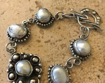 Unique Sterling Silver Bracelet With Freshwater Pearls