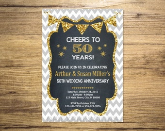 Golden Wedding Anniversary Invitation, Chalkboard & Gold Glitter Effect, 50th Anniversary Invitation, Chevron Anniversary Invite